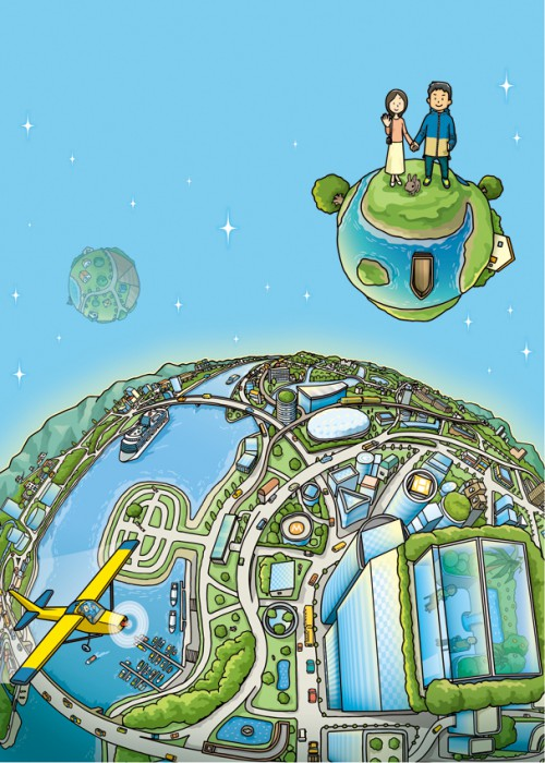 planet of ideal city オリジナルイラスト  planet of ideal city